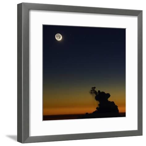 Full Moon in Sky with Colorful Twilight Horizon from the Summit of Haleakala, Hawaii-Babak Tafreshi-Framed Art Print