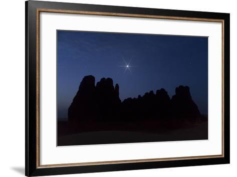 Venus Appears Above Giant Sandstone Cliffs Rising Above Sand Dunes-Babak Tafreshi-Framed Art Print