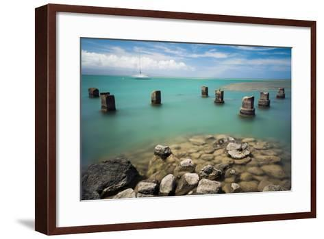 Concrete Pylons of an Old Wharf Stand Sentinel in the Turquoise Kalohi Channel-Jonathan Kingston-Framed Art Print