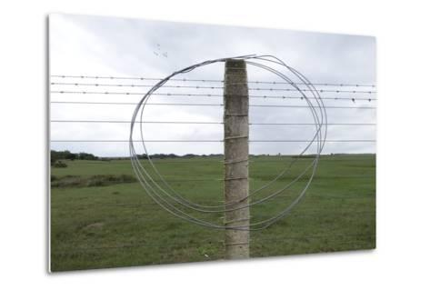 Coiled Barb Wire on a Fence Post-Tyrone Turner-Metal Print
