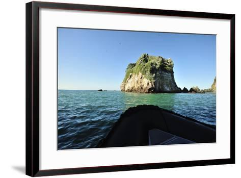 The Bow of a Small Inflatable Boat in the Blue Green Waters of Bona Island-Jonathan Kingston-Framed Art Print
