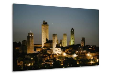 The Medieval Town of San Gimignano at Night-Matt Propert-Metal Print