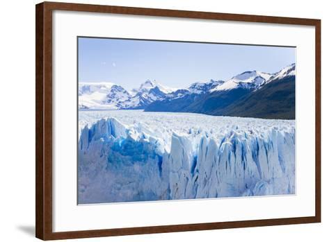 Deep Blue Cracks Line the Front Wall of the Perito Moreno Glacier-Mike Theiss-Framed Art Print