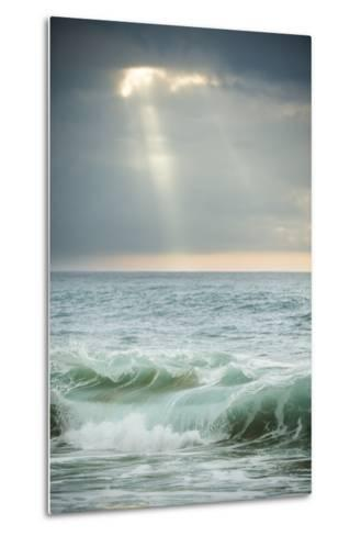 Sun Rays Break Through the Clouds over the Pacific on the West Shore of Molokai, Hawaii-Jonathan Kingston-Metal Print