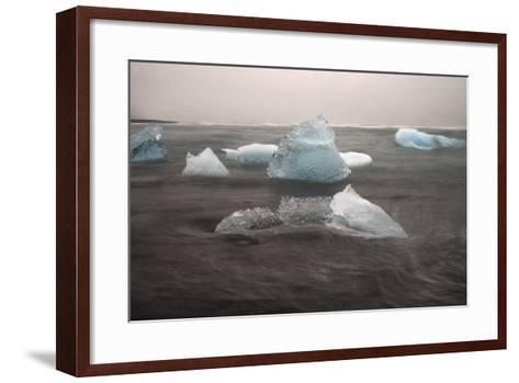 Icebergs on Black Sand Beach-Raul Touzon-Framed Art Print