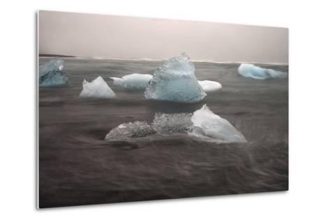 Icebergs on Black Sand Beach-Raul Touzon-Metal Print