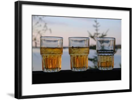 Three Glasses of Brandy Old Fashions on the Railing of a Wooden Deck-Paul Damien-Framed Art Print