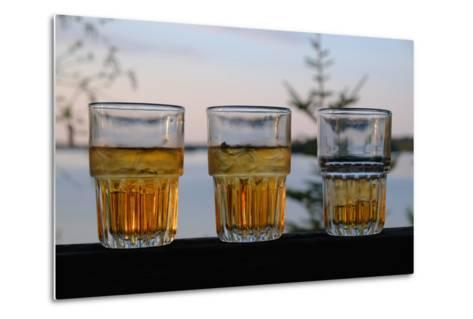 Three Glasses of Brandy Old Fashions on the Railing of a Wooden Deck-Paul Damien-Metal Print