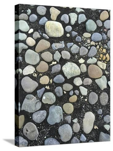 Pebbles on the Black Sand Beach Near Jokulsarlon Glacial Lagoon-Bill Marr-Stretched Canvas Print