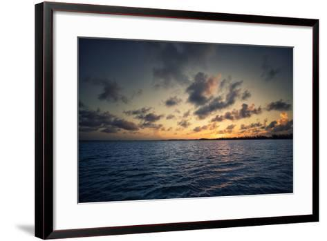 Sunset Off the Coast of Cat Island in the Bahamas-Andy Mann-Framed Art Print