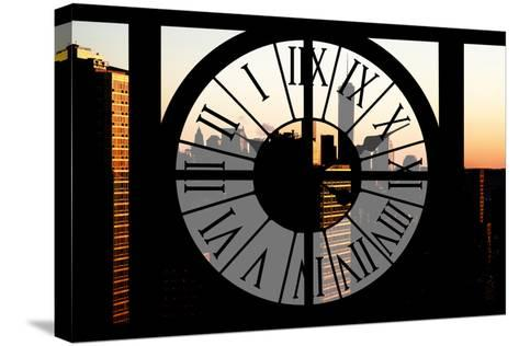 Giant Clock Window - City View at Sunset with the One World Trade Center-Philippe Hugonnard-Stretched Canvas Print