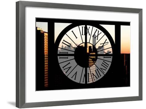 Giant Clock Window - City View at Sunset with the One World Trade Center-Philippe Hugonnard-Framed Art Print