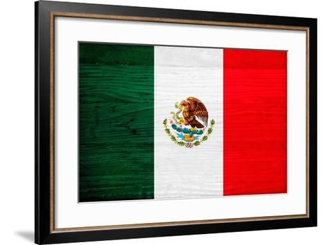 Mexico Flag Design with Wood Patterning - Flags of the World Series-Philippe Hugonnard-Framed Art Print