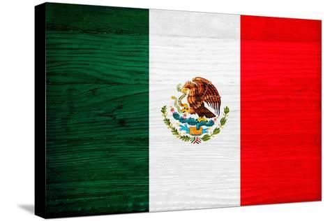Mexico Flag Design with Wood Patterning - Flags of the World Series-Philippe Hugonnard-Stretched Canvas Print