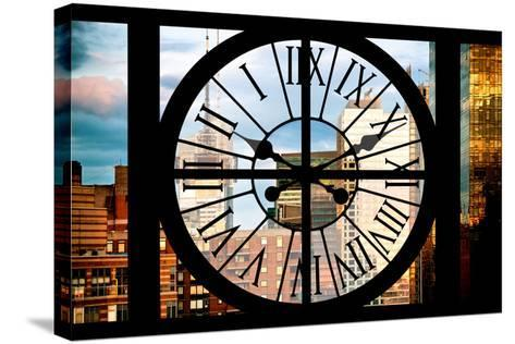 Giant Clock Window - View of Manhattan Buildings at Sunset-Philippe Hugonnard-Stretched Canvas Print