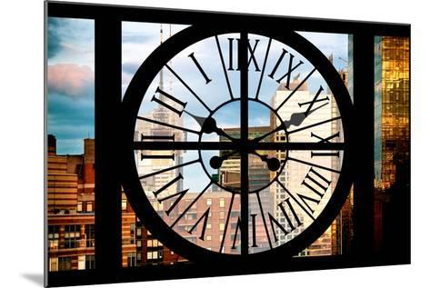 Giant Clock Window - View of Manhattan Buildings at Sunset-Philippe Hugonnard-Mounted Photographic Print