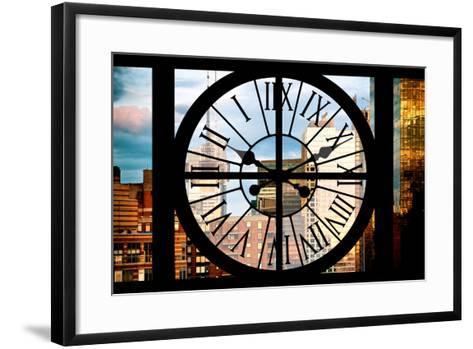 Giant Clock Window - View of Manhattan Buildings at Sunset-Philippe Hugonnard-Framed Art Print