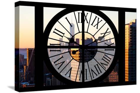 Giant Clock Window - City View at Sunset - New York City-Philippe Hugonnard-Stretched Canvas Print
