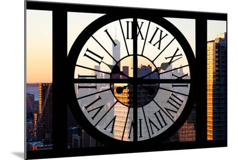 Giant Clock Window - City View at Sunset - New York City-Philippe Hugonnard-Mounted Photographic Print