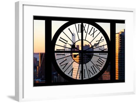 Giant Clock Window - City View at Sunset - New York City-Philippe Hugonnard-Framed Art Print