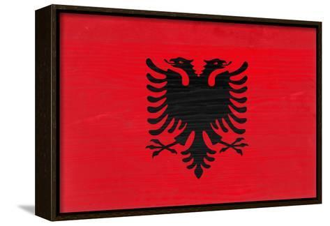 Albania Flag Design with Wood Patterning - Flags of the World Series-Philippe Hugonnard-Framed Canvas Print