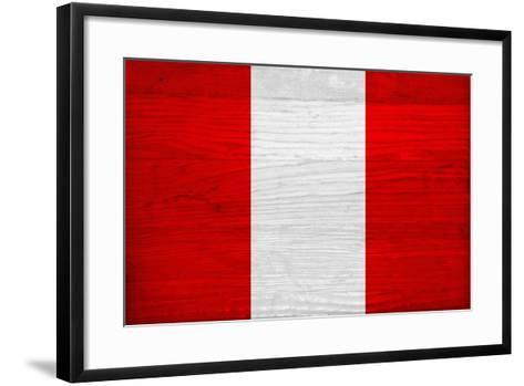 Peru Flag Design with Wood Patterning - Flags of the World Series-Philippe Hugonnard-Framed Art Print