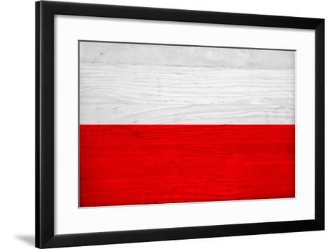 Poland Flag Design with Wood Patterning - Flags of the World Series-Philippe Hugonnard-Framed Art Print