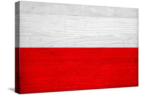 Poland Flag Design with Wood Patterning - Flags of the World Series-Philippe Hugonnard-Stretched Canvas Print