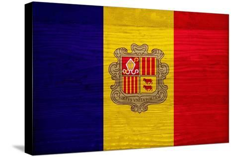 Andorra Flag Design with Wood Patterning - Flags of the World Series-Philippe Hugonnard-Stretched Canvas Print
