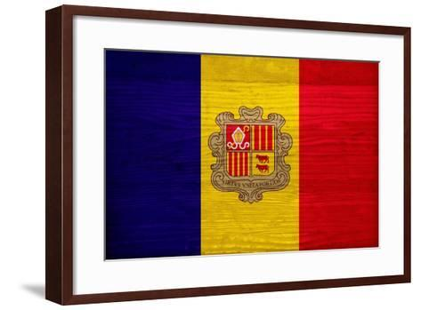 Andorra Flag Design with Wood Patterning - Flags of the World Series-Philippe Hugonnard-Framed Art Print