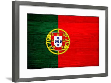 Portugal Flag Design with Wood Patterning - Flags of the World Series-Philippe Hugonnard-Framed Art Print