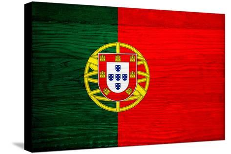 Portugal Flag Design with Wood Patterning - Flags of the World Series-Philippe Hugonnard-Stretched Canvas Print