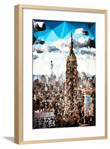 Low Poly New York Art - Empire State Building and 1 WTC-Philippe Hugonnard-Framed Art Print