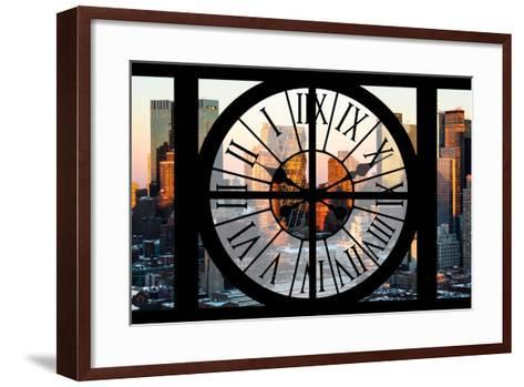 Giant Clock Window - View of Hell's Kitchen in Winter - Manhattan-Philippe Hugonnard-Framed Art Print
