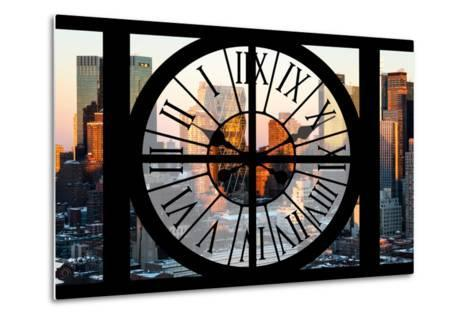 Giant Clock Window - View of Hell's Kitchen in Winter - Manhattan-Philippe Hugonnard-Metal Print