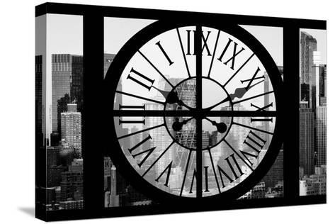 Giant Clock Window - View of Hell's Kitchen in Winter - Manhattan II-Philippe Hugonnard-Stretched Canvas Print