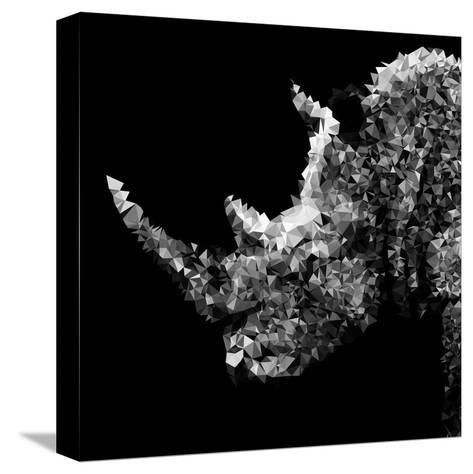 Low Poly Safari Art - Rhino - Black Edition III-Philippe Hugonnard-Stretched Canvas Print