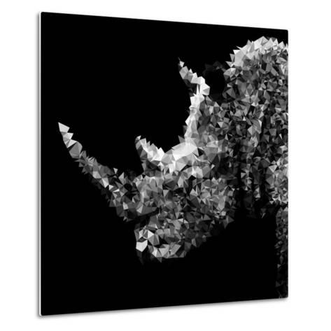 Low Poly Safari Art - Rhino - Black Edition III-Philippe Hugonnard-Metal Print