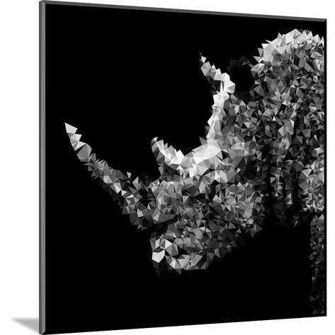 Low Poly Safari Art - Rhino - Black Edition III-Philippe Hugonnard-Mounted Art Print
