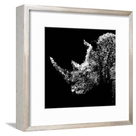 Low Poly Safari Art - Rhino - Black Edition III-Philippe Hugonnard-Framed Art Print