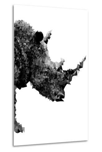 Low Poly Safari Art - Rhino - White Edition-Philippe Hugonnard-Metal Print