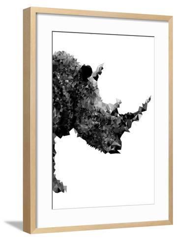 Low Poly Safari Art - Rhino - White Edition-Philippe Hugonnard-Framed Art Print