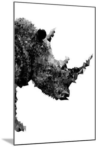 Low Poly Safari Art - Rhino - White Edition-Philippe Hugonnard-Mounted Art Print