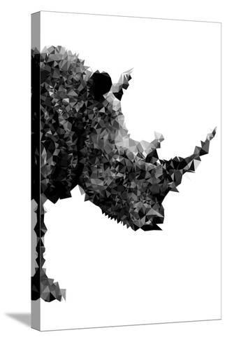Low Poly Safari Art - Rhino - White Edition-Philippe Hugonnard-Stretched Canvas Print