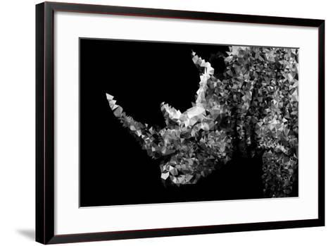 Low Poly Safari Art - Rhino - Black Edition II-Philippe Hugonnard-Framed Art Print