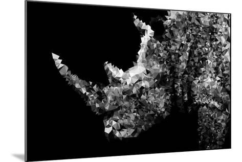 Low Poly Safari Art - Rhino - Black Edition II-Philippe Hugonnard-Mounted Art Print