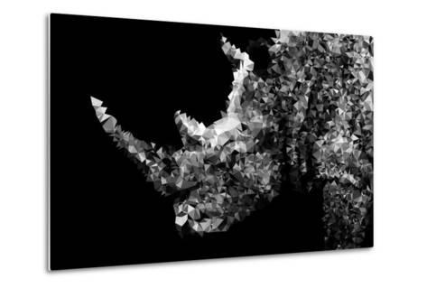 Low Poly Safari Art - Rhino - Black Edition II-Philippe Hugonnard-Metal Print