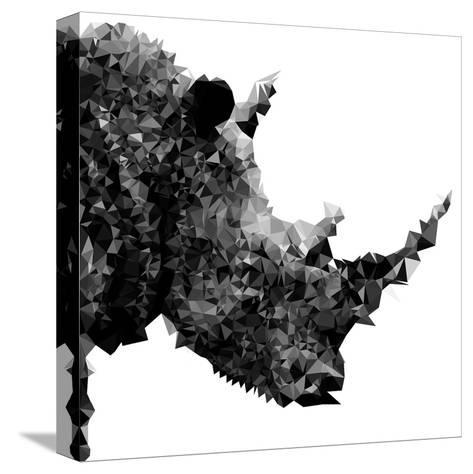 Low Poly Safari Art - Rhino - White Edition II-Philippe Hugonnard-Stretched Canvas Print