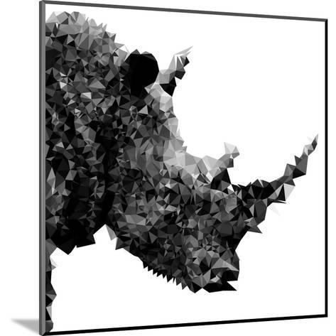 Low Poly Safari Art - Rhino - White Edition II-Philippe Hugonnard-Mounted Art Print