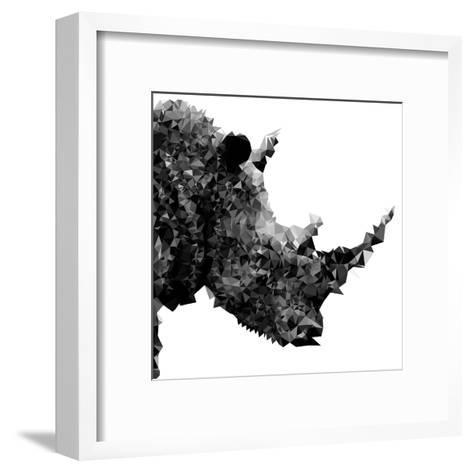 Low Poly Safari Art - Rhino - White Edition II-Philippe Hugonnard-Framed Art Print